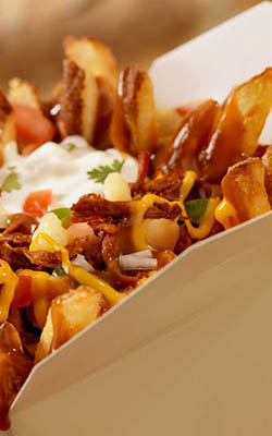 We server many poutines, including Mexican Poutine